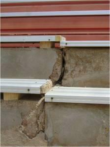 Deteriorated concrete creates mismatched bleachers at the stadium.