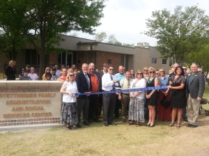 Texas Boys Ranch staff, board members and members of the Stettheimer Family cut the ribbon on the new Administration and Social Service Center at Texas Boys Ranch in Lubbock.