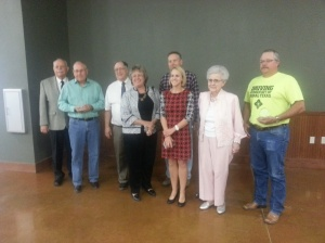 """The 2013 Award Recipients.  From Left to Right, Bill Powell, Outgoing Chamber President; Chris Roberts, Stephen and Pat Henry, Sham Myatt, Anna Hord, Roberta """"Bill"""" Thomman, and Doug Hoelscher."""