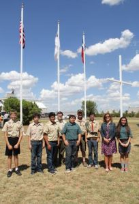 Boy Scout Troop 625 and Venturing Crew 625 hosted a dedication ceremony for this flag and cross complex at the Levelland Christian School.