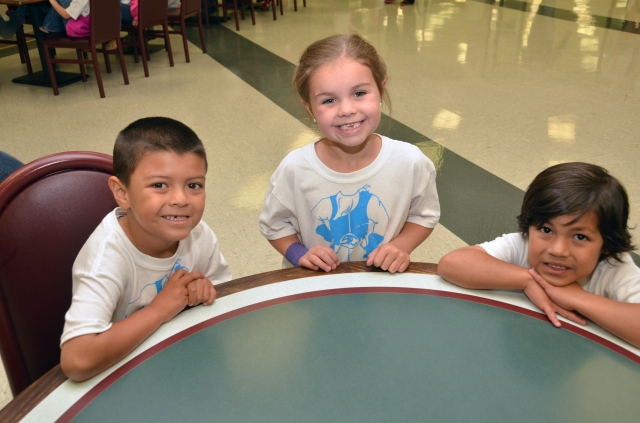 CLASS OF 2027 – South Plains College recently hosted Kids College for area  kindergarten students. Shown are, from left, Noah Jaime, 6, Lainey Sanders, 6, and  Jozaih Garza, 5. (SPC Photo/Wes Underwood)