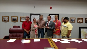 New LISD Superintendent Jeff Northern surrounded by Levelland ISD Board of Trustees following the meeting today.