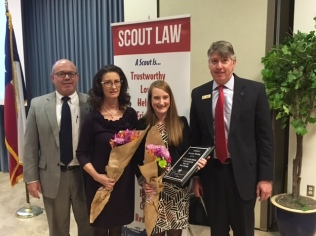 Friends of Scouting posthumously honor and recognize George Keeling. Keelings wife, Iris and daughter, Alycyn Keeling accepted the honor.